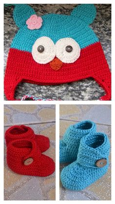 Crochet Owl Beanie and Baby Bootie Set, Hat And Booties, Newborn Crochet Shoes, Baby Hat, Baby Shoes, Crochet Booties on Etsy, $22.99