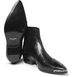 Saint Laurent - Flame-Patterned Leather Chelsea Boots|MR PORTER