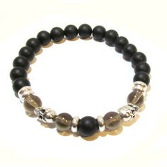 Matte Black and Blue Onyx and Fire Agate Positive Energy Double Row Bracelet - Edgy Soul