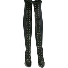 F/W 2012 Dolce Gabbana Thigh High Black Corset Boots 39 ($6,557) ❤ liked on Polyvore featuring shoes, boots, black thigh high boots, patent boots, black over the knee boots, over the knee thigh high boots and black patent boots