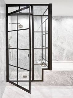 Black and Clear and Gray Bathroom