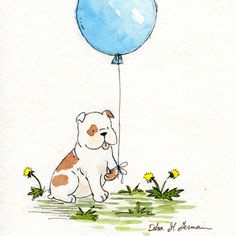Bulldog Art- Bulldogs Blue Balloon 8x10 Archival Print- English Bulldog Nursery Wall Art- Childrens Decor. $18.00, via Etsy.