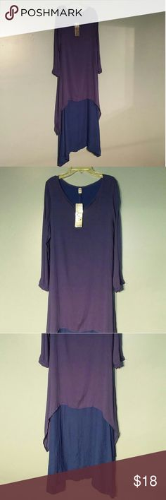 purple and blue layered dress New with tags. Hanyi Fushi boho peasant dress. Long sleeve. Five button V neck. Light weight material. Purple layer upper with asymetrical hem. Royal bue under layer. Size: Small hanyi fushi Dresses