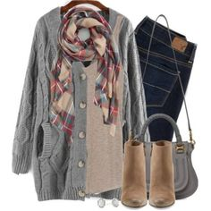 gray knit cardigan scarf outfit, Winter outfits in latest trends http://www.justtrendygirls.com/winter-outfits-in-latest-trends/
