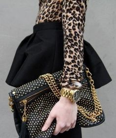 Leopard and beautiful bag.