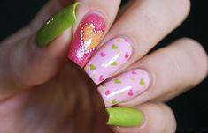 Colorful Valentines Day Nail Design Hearts Love Nails Pink & Green #nailart #nailpolish