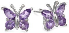 Sterling Silver Amethyst Butterfly Earrings: Jewelry