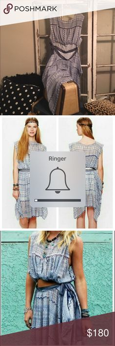 Free People. New York Romantics. NWOT. Navy Blue & White. Embroidered cutout dress. Reversible Free People Dresses Asymmetrical