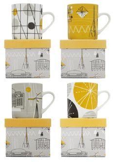 Mod patterns: Image of Festival Porcelain Mugs - Set of Four Ceramic Plates, Porcelain Ceramics, Mugs Set, Tea Mugs, Kitchenware, Tableware, Black And White Theme, China Tea Cups, Pottery Mugs