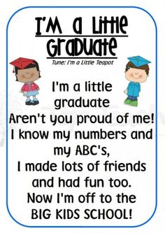 Is your kid going to be a preschool graduate and soon be a kindergarten student? Celebrate this wonderful occasion with these inspirational preschool graduation quotes. Preschool Graduation Songs, Preschool Poems, Preschool Classroom, In Kindergarten, Pre K Graduation Songs, Pre School Graduation Ideas, Preschool Teacher Quotes, School Ideas, Graduation Crafts