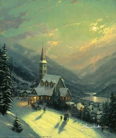 Thomas Kinkade - I love his winter scenes