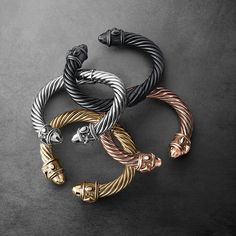 I'll take one of each, please — such beautiful, monochromatic bracelets from David Yurman's Renaissance Collection. Jewelry Box, Jewelery, Jewelry Watches, Jewelry Accessories, Fashion Accessories, Fine Jewelry, Women Jewelry, Men's Jewellery, Jewelry Ideas