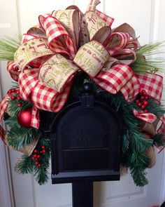 Christmas Mailbox Swag MailBox Decor Red and by WilliamsFloral