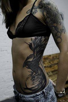 Party Phoenix tattoo on Proskura Art Side Body Tattoos, Side Stomach Tattoos, Side Piece Tattoos, Stomach Tattoos Women, Side Tattoos Women, Pieces Tattoo, Back Tattoo Women, Lower Belly Tattoos, Tattoo Life