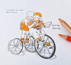 ORIGINAL ILLUSTRATION // climb on my bicycle. £20.00, pinkpapercircus via Etsy