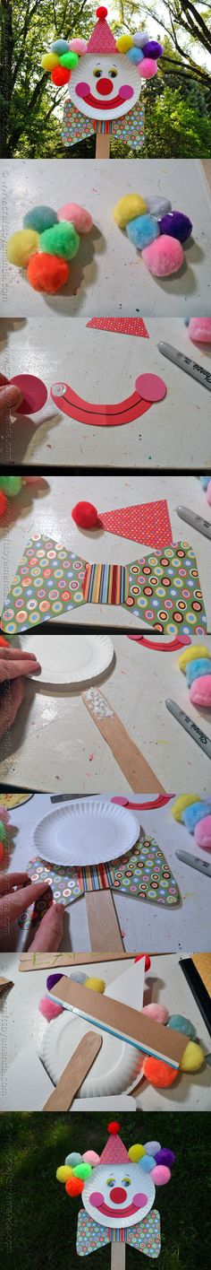 DIY Paper Plate Clown Puppet for Kids