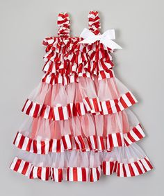 Look at this Whitney Elizabeth Red & White Stripe Bow Ruffle Dress - Infant, Toddler & Girls on #zulily today!