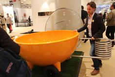 One of the most attention-getting designs at the show: the Dutchtub, a portable, wood-fired spa from the Netherlands. It needs no electricity or chemicals.