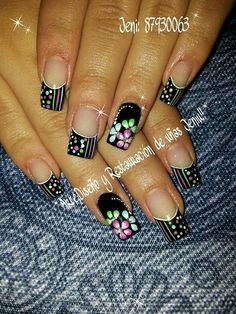 like ring finger w/out the stones Gorgeous Nails, Pretty Nails, Nails Only, Funky Nails, Spring Nail Art, Flower Nail Art, Hot Nails, Creative Nails, French Nails
