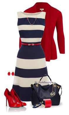 """Red, White & Blue"" by tufootballmom ❤ liked on Polyvore featuring mode, CC, Sergio Rossi, MICHAEL Michael Kors, MANGO, Kate Spade, Miriam Salat, Kenneth Jay Lane et Susan Caplan Vintage"