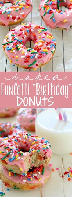 Baked Funfetti Donuts aka Birthday Donuts because it's MY BIRTHDAY! These homemade donuts are made with healthier ingredients and baked. Only 132 calories per donut and every bite has fun rainbow sprinkles! Baked Donut Recipes, Baked Doughnuts, Baking Recipes, Donuts Donuts, Delicious Donuts, Delicious Desserts, Yummy Food, Healthy Donuts, Cake Pops