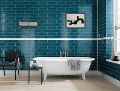 Subway Style Ceramic Wall Tiles for kitchens and bathrooms MANHATTAN Collectione by Bathroom Feature Wall Tile, Kitchen Wall Tiles, Ceramic Wall Tiles, Master Bathroom, Bad Inspiration, Bathroom Inspiration, Bathroom Ideas, Turquoise Walls, Wall Tiles Design
