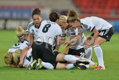 14.07.2013. Vaxjo, Sweden. Celia Okoyino da Mbabi, Nadine Kebler, Lena Goebling, Melanie Leupolz, Saskia Bartusiak (l) and Leonie Maier of Germany celebrate the goal by Lena Lotzen during the UEFA Women's EURO 2013 Group B soccer match between Germany and Iceland at the Vaxjo Arena in Vaxjo, Sweden.