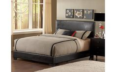 Queen Brown Padded Low Profile Bed – My Furniture Place