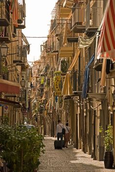 beautiful little city -- On the streets of Cefal, Sicily, Italy (by Janey Kay).