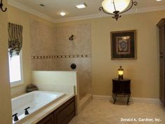 This master bathroom features an open walk-in shower! The St Clair - 284. http://www.dongardner.com/plan_details.aspx?pid=224. #Master #Bathroom #OpenShower