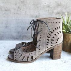 'leilani' vegan suede cutout lace up chunky mule heel - grey