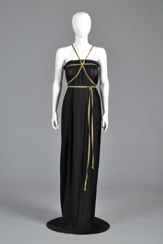 Valentino Black + Gold 1970s Pleated Grecian Gown | BUSTOWN MODERN