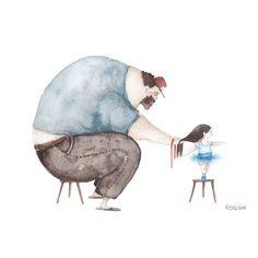 Estas ilustraciones plasman la relación que le gustaría haber tenido a la autora con su padre