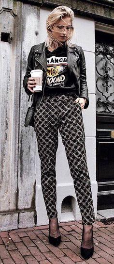 grunge style addiction: black leather jacket printed top pants heels
