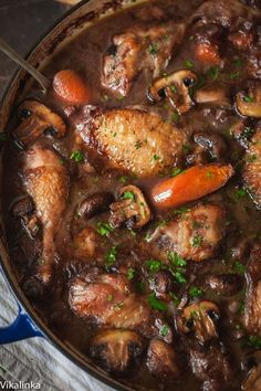 Classic Coq Au Vin... Warm and comforting chicken braised in red wine-the best of French country cooking! ...