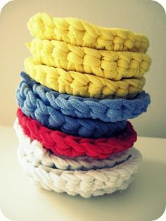 T-shirt yarn 'scrubbies' for doing the dishes. pretty nifty (made 'em 2013)