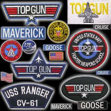 "TOP GUN ""Maverick"" Costume Naval Patch Set, Embroidered, Iron-On OR Velcro NEW"