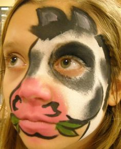 Cow Face Painting Linda Schrenk/Amazing Face Painting by Linda, Jacksonville FL Cow Face Paints, Hulk Face Painting, Animal Face Paintings, Animal Faces, Body Painting, Cow Appreciation Day, Pregnant Belly Painting, Farm Animal Party, Cool Face