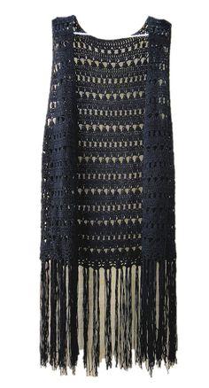 Tinacrochetstudio® Black Crochet Long Fringed Hem Vest Top at Amazon Women's Clothing store: