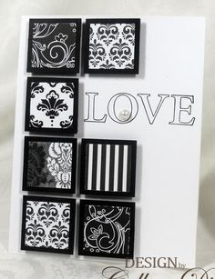 handmade card ... black and white inchies ... patterned papers back in black ... like how the squares are popped up to give them dimension and the look of little framed pieces of art ...