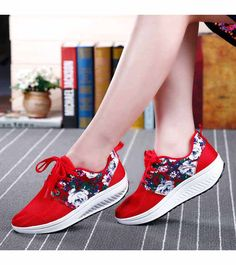 Women's #red canvas lace up #rocker bottom sole shoe sneakers, lightweight, mix color, flower pattern, Shock absorption sole, casual, leisure occasions.