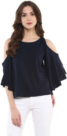f4835006615 Harpa Casual 3/4th Sleeve Solid Women's Blue Top #blue #tops  #absolutefashionista #fashion #fashionista #fashionblogger #style #stylish  #styleblogger ...