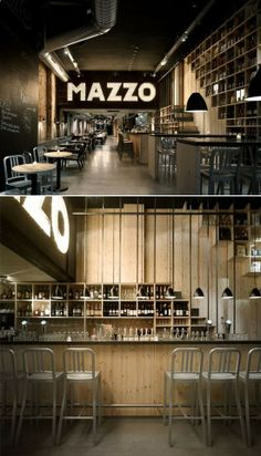Love the lighted sign, exposed duct work, chalkboard wall, shelving