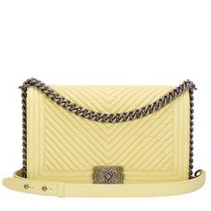 Chanel Yellow Chevron New Medium Boy Bag #chanel