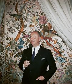 Stanley Marcus took this picture of Christian Dior in the designer's apartment in Paris, April 1954. Dior had received the Neiman Marcus Award for Distinguished Service in the Field of Fashion in 1947.