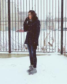 Merona duffle coat, American Eagle jeans, Columbia boots