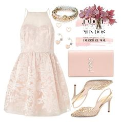 """pink dress..."" by grinevagh ❤ liked on Polyvore featuring Lipsy, Yves Saint Laurent, René Caovilla and Chloe + Isabel"