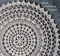 Free crochet chart from Pink Rose Crochet (notes are in Portuguese) Bag Crochet, Crochet Dollies, Crochet Chart, Crochet Home, Thread Crochet, Filet Crochet, Free Crochet Doily Patterns, Crochet Motif, Free Pattern
