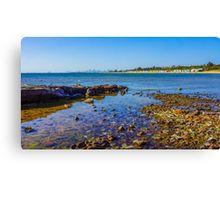 A View to the Brighton Bath Huts and the Melbourne CBD Canvas Print