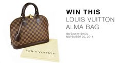 Our winter giveaway is HERE! And this time we are giving away a Louis Vuitton Damier Canvas Alma PM Bag. Like us on Facebook and enter to win! Share for more chances to win!